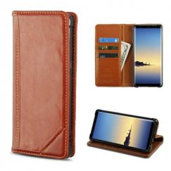 Samsung Galaxy Note 8 Brown Genuine Leather Wallet