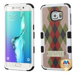 Samsung Galaxy S6 Edge Plus Vintage Argyle/Black Hybrid Case with Stand