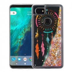 Google Pixel 2 XL Dreamcatcher & Gold Stars Quicksand Glitter Hybrid Case