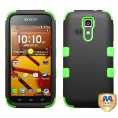 Kyocera Hydro Life / Hydro Icon Rubberized Black/Electric Green Hybrid Case