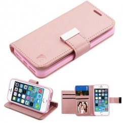 Apple iPhone 5s Rose Gold PU Leather Wallet with extra card slots (GE035) -WP