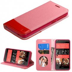 HTC Desire 650 Pink/Red wallet with Card Slot