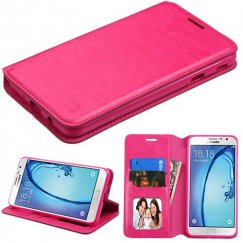 Samsung Galaxy On7 Hot Pink Wallet with Tray