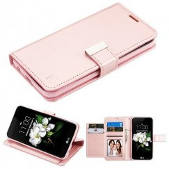 LG K8 Rose Gold PU Leather Wallet with extra card slots