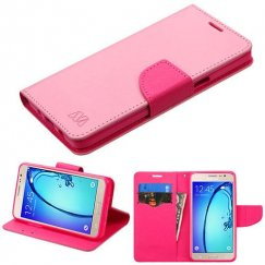 Samsung Galaxy On5 Pink Pattern/Hot Pink Liner Wallet with Card Slot