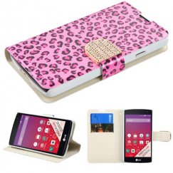 LG Tribute Pink Leopard Skin Wallet with Diamante Belt