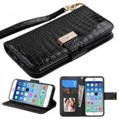 Apple iPhone 6s Black Crocodile-Embossed Wallet