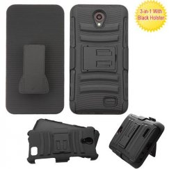 ZTE Prestige 2 Black/Black Advanced Armor Stand Case Combo with Black Holster