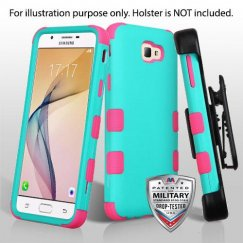 Samsung Galaxy J5 Prime Rubberized Teal Green/Electric Pink Hybrid Case Military Grade with Black Horizontal Holster