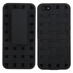 Apple iPhone SE Rubberized Black Hybrid Holster - Weave Texture