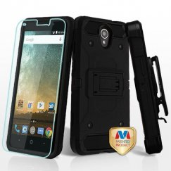 ZTE Prestige 2 Black/Black 3-in-1 Kinetic Hybrid Case Combo with Black Holster and Tempered Glass Screen Protector