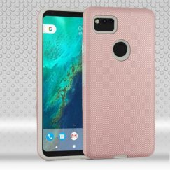 Google Pixel 2 XL Rose Gold Dots Textured/Light Gray Fusion Case