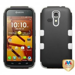 Kyocera Hydro Life / Hydro Icon Rubberized Black/Solid White Hybrid Case