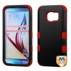 Samsung Galaxy S7 Natural Black/Red Hybrid Case