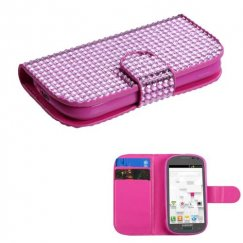 Samsung Galaxy Exhibit Pink Diamonds Book-Style Wallet with Card Slot