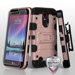 LG K10 Rose Gold/Black 3-in-1 Storm Tank Hybrid Case Combo with Black Holster and Tempered Glass Screen Protector - Military Grade