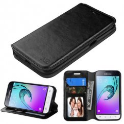 Samsung Galaxy J1 Black Wallet with Tray