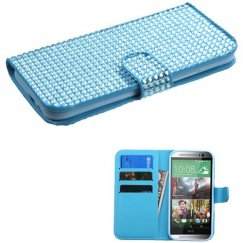 HTC One M8 Light Blue Diamonds Book-Style Wallet with Card Slot