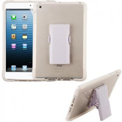 AppleiPad Mini 3rd Gen Transparent Clear/White Bumper Sturdy Candy Skin Case with Detachable Stand