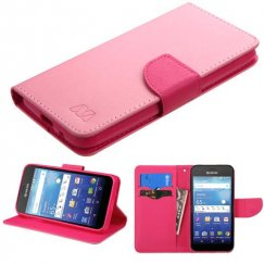 Kyocera Wave / Hydro Air Pink Pattern/Hot Pink Liner Wallet with Card Slot