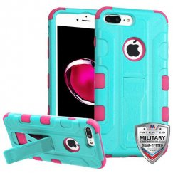 Apple iPhone 8 Plus Natural Teal Green/Electric Pink Galactic Hybrid Case with Stand