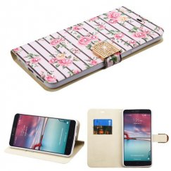 ZTE Grand X Max 2 Pink Fresh Roses Diamante Wallet with Diamante Belt