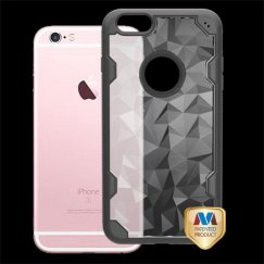Apple iPhone 6s Plus Transparent Clear Polygon/Black Challenger Hybrid Case
