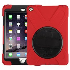 AppleiPad Air 2nd Gen Black/Red Rotatable Stand Protector Cover (with Wristband)