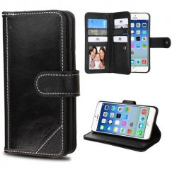 Apple iPhone 6s Black Genuine Leather Deluxe Wallet with Button Closure