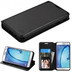 Samsung Galaxy On7 Black Wallet with Tray