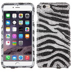 Apple iPhone 6 Plus Black Zebra Skin Diamante Case