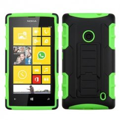 Nokia Lumia 520 Black/Electric Green Car Armor Stand Case - Rubberized