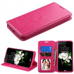 LG K7 Hot Pink Wallet with Tray
