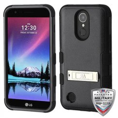 LG K10 Natural Black/Black Hybrid Case with Stand Military Grade