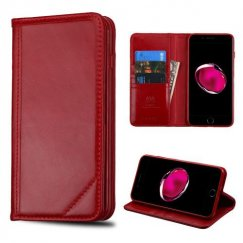Apple iPhone 8 Plus Red Genuine Leather Wallet