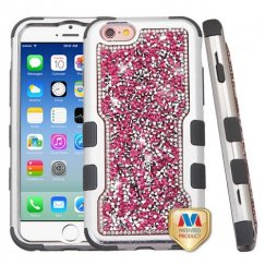 Apple iPhone 6s Silver Plating Frame Pink Mini Crystals Back/Iron Gray Vivid Hybrid Case