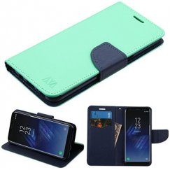 Samsung Galaxy S8 Teal Green Pattern/Dark Blue Liner wallet with Card Slot