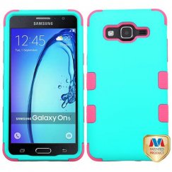 Samsung Galaxy On5 Rubberized Teal Green/Electric Pink Hybrid Case