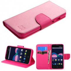 ZTE Obsidian Pink Pattern/Hot Pink Liner Wallet with Card Slot
