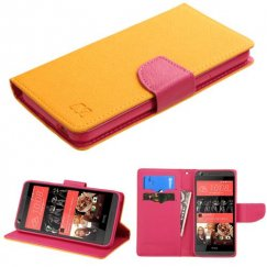 HTC Desire 650 Yellow Pattern/Hot Pink Liner wallet with Card Slot