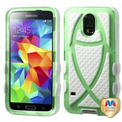 Samsung Galaxy S5 T-Green/Solid White Fish Hybrid Case
