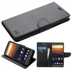 ZTE Blade Max 3 / Max XL Black Pattern/Black Liner wallet with Card Slot