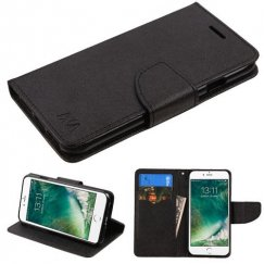 Apple iPhone 8 Black Pattern/Black Liner wallet with Card Slot