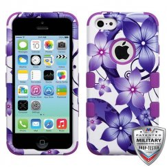 Apple iPhone 5c Purple Hibiscus Flower Romance/Electric Purple Hybrid Case