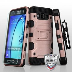Samsung Galaxy On5 Rose Gold/Black 3-in-1 Storm Tank Hybrid Case Combo with Black Holster and Tempered Glass Screen Protector - Military Grade
