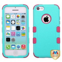 Apple iPhone 5c Natural Teal Green/Electric Pink Hybrid Case