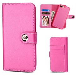 Apple iPhone 8 Plus Hot Pink Detachable Magnetic 2-in-1 Wallet (TPU Case Leather Folio)