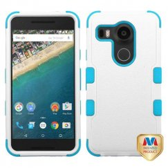 LG Nexus 5X Natural Ivory White/Tropical Teal Hybrid Case