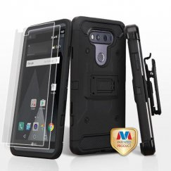 LG V20 Black/Black 3-in-1 Case Combo with Black Holster with Twin Screen Protectors