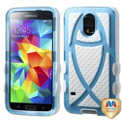 Samsung Galaxy S5 Rubberized T-Light Blue/Solid White Fish Hybrid Case